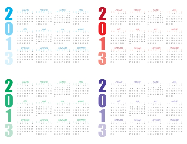 2013-ombre-yearly-calendar-purple-emerald-blue-red