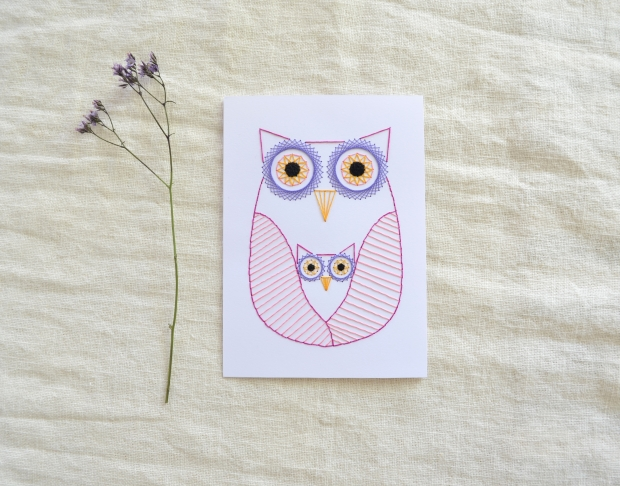 owl-embroidery-on-paper-nusery-wall-art-mom-and-baby-owlet-orange-blue-pink-geometric-02